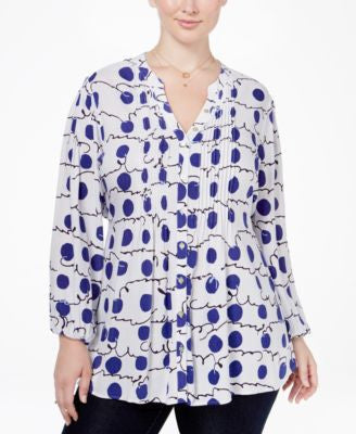 Melissa McCarthy Seven7 Trendy Plus Size Printed Pintucked Blouse