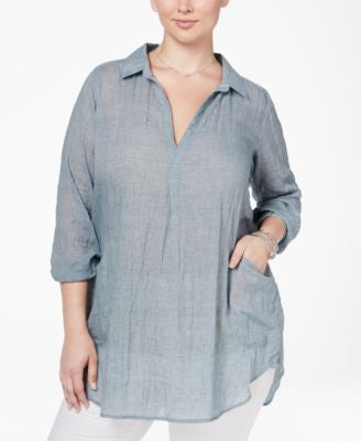 Melissa McCarthy Seven7 Trendy Plus Size Sheer Crinkled Tunic Top