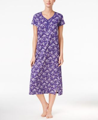 Charter Club V-Neck Henley-Style Printed Nightgown, Only at Vogily