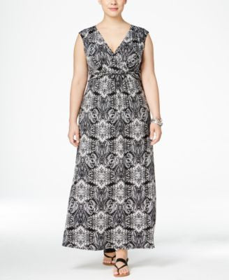 NY Collection Plus Size Surplice-Wrap Maxi Dress