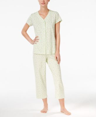 Charter Club Printed Scallop-Trimmed Top and Cropped Pants Pajama Set, Only at Vogily