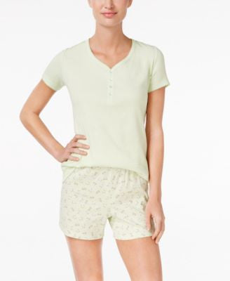 Charter Club Mix It Henley-Style Top and Printed Boxer Pajama Set, Only at Vogily