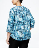 NY Collection Plus Size Printed Utility Blouse