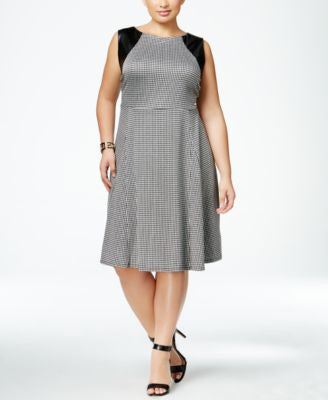 NY Collection Plus Size Faux-Leather-Trim Herringbone Fit & Flare Dress