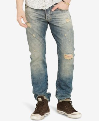Denim & Supply Ralph Lauren Men's Slim-Fit Oceanside Light-Wash Deconstructed Jeans