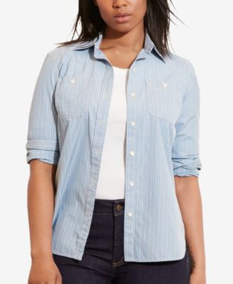 Lauren Ralph Lauren Plus Size Striped Dobby Shirt
