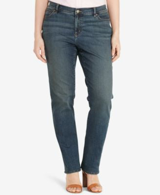 Lauren Ralph Lauren Plus Size Stretch Straight-Leg Jeans, Harbor Wash