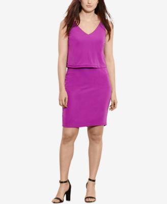 Lauren Ralph Lauren Plus Size Overlay V-Back Dress