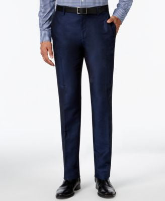Calvin Klein Men's Slim-Fit Diamond-Pattern Flat-Front Pants