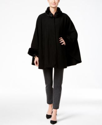 Cejon Fleece and Solid Faux Fur-Cuff Cape