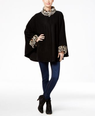 Cejon Fleece and Leopard-Print Faux Fur-Trim Cape