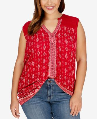 Lucky Brand Trendy Plus Size Sleeveless Printed Peasant Top