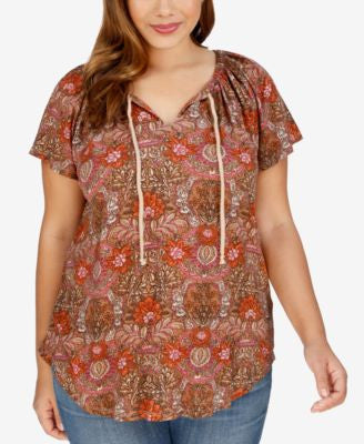 Lucky Brand Trendy Plus Size Mosaic-Print Peasant Top