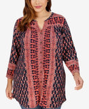 Lucky Brand Trendy Plus Size Geo-Print Peasant Tunic Shirt