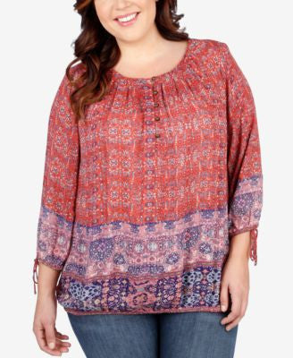 Lucky Brand Trendy Plus Size Tapestry-Print Peasant Top