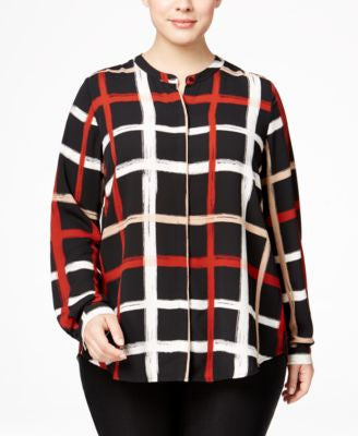 Alfani Plus Size Plaid Blouse, Only at Vogily