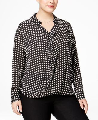 Alfani Plus Size Drapey Surplice Blouse, Only at Vogily