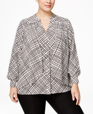 Alfani Plus Size Grid-Print Flyaway Blouse, Only at Vogily