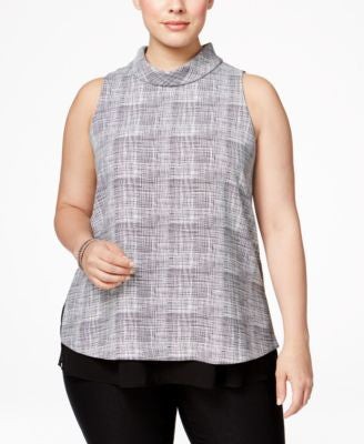 Alfani Plus Size Printed Mock-Turtleneck Top, Only at Vogily