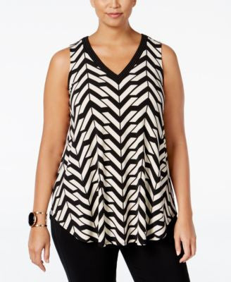 Alfani Plus Size Embellished-Neck Swing Top, Only at Vogily