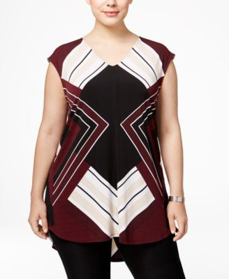 Alfani Plus Size Printed High-Low Top, Only at Vogily