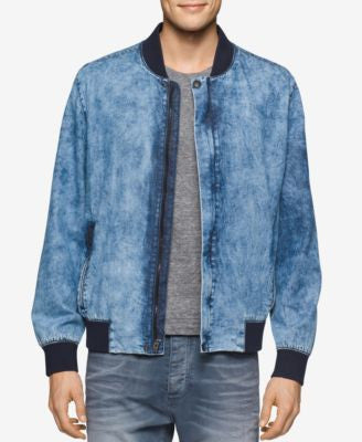 Calvin Klein Jeans Men's Wave-Wash Denim Bomber Jacket