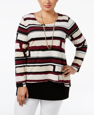 Alfani Plus Size Geometric-Print Popover Top, Only at Vogily