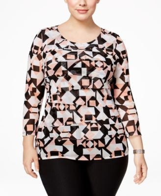 Alfani Plus Size Tiered Printed Mesh Top, Only at Vogily