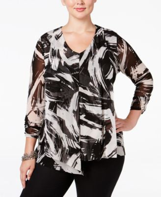 Alfani Plus Size Layered Mesh Blouse, Only at Vogily