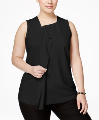 Alfani Plus Size Ruffled Zip-Front Blouse, Only at Vogily