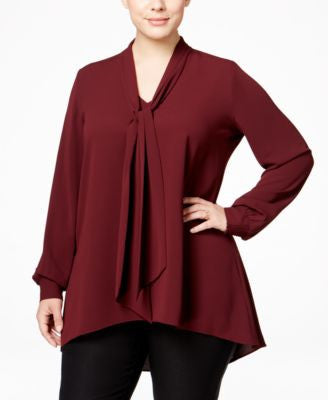 Alfani Plus Size Tie-Neck Blouse, Only at Vogily