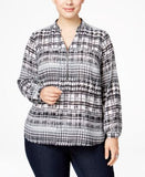 NY Collection Plus Size Printed Grommet-Trim Shirt