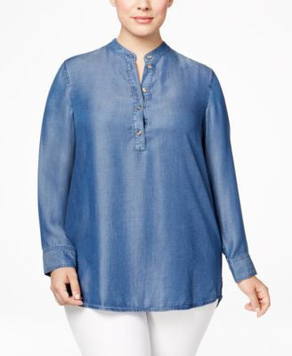 MICHAEL Michael Kors Plus Size Denim Tunic Shirt