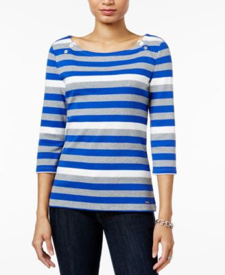 Tommy Hilfiger Ansley Striped Boat-Neck Top