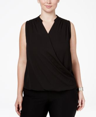 INC International Concepts Plus Size Sleeveless Surplice Top