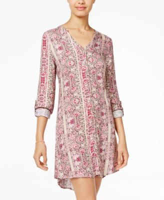American Rag Printed Lace-Up-Back Shirtdress, Only at Vogily