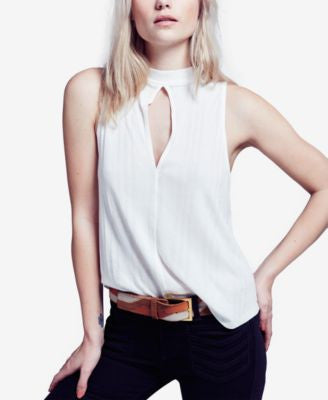 Free People Faye Ribbed Cutout Top