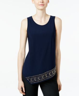 MSK Beaded Asymmetrical Sleeveless Blouse