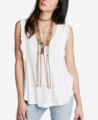 Free People Bondi Cutout Ruffled Tank Top