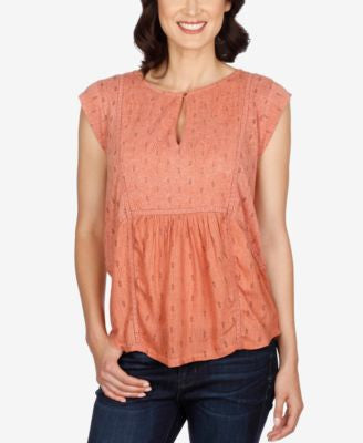 Lucky Brand Cap-Sleeve Mixed-Media Top