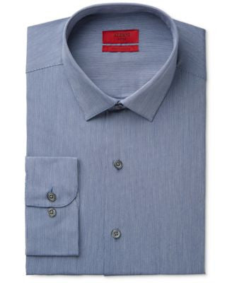 Alfani Men's Fitted Performance Indigo Blue Hairline-Stripe Dress Shirt, Only at Vogily