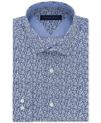 Tommy Hilfiger Men's Slim-Fit Sky Blue Floral Liberty-Print Dress Shirt
