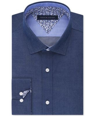 Tommy Hilfiger Men's Slim-Fit Blue Liberty-Print Dress Shirt