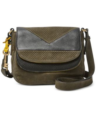 Fossil Piper Double Flap Perforated Crossbody