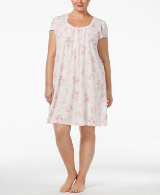 Miss Elaine Plus Size Lace-Trimmed Nightgown