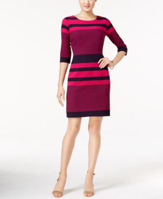 Tahari ASL Striped Knit Sheath Dress