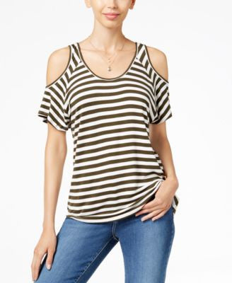Kut from the Kloth Cold-Shoulder Striped Top