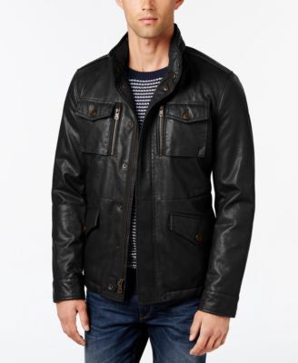 Tommy Hilfiger Men's Faux-Leather Hooded Field Jacket
