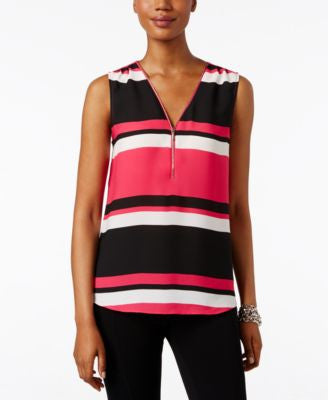 INC International Concepts Front-Zip Colorblocked Blouse, Only at Vogily