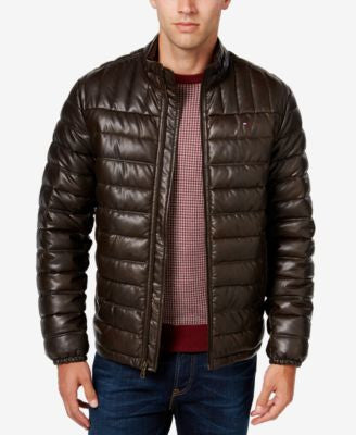 Tommy Hilfiger Men's Quilted Packable Faux-Leather Puffer Jacket